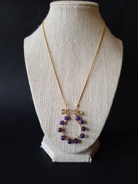 Amethyst Gold Necklace Purple Jewelry for Woman, February Amethyst Birthstone Purple Fashion
