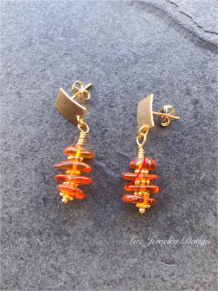 Tangerine Orange Earrings, mber earrings, Orange Jewelry, honey amber earrings, amber dangle, amber chip earrings, nugget amber