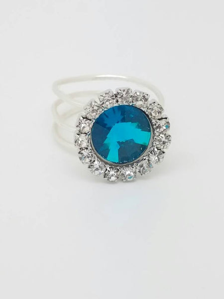 Blue Crystal Ring Silver Blue Button Crystal Ring Wire Wrapped ring Handmade silver Blue Ring Swarovski Crystal Shinny ring
