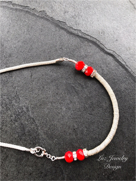 Red silver necklace, Silver coil necklace, coiled necklace, red necklace, silver boho necklace, silver red necklace, - Luzjewelrydesign