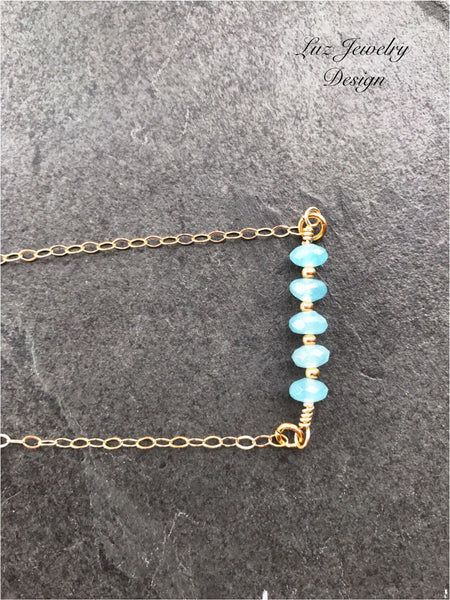 NO Aquamarine Necklace, Aquamarine Gold Necklace, Aquamarine Bar Necklace, Aquamarine Pendent, Aquamarine Jewelry Raw aquamarine