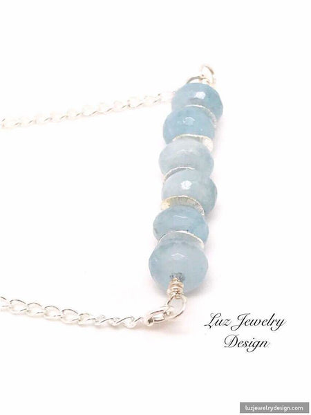Aquamarine Silver Necklace - Luzjewelrydesign