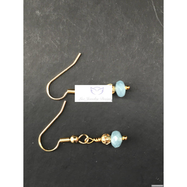 Aquamarine Drop Earrings-Aquamarine jewelry - handcrafted Jewelry Luzjewelrydesign