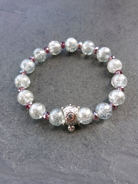 Crystal pink bracelet, streching bracelet - handcrafted Jewelry Luzjewelrydesign