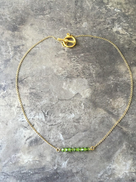 Gold fill green Swarovski necklace, Green Swavoski necklace, Green crystal necklace, green bar necklace, green bar jewelry