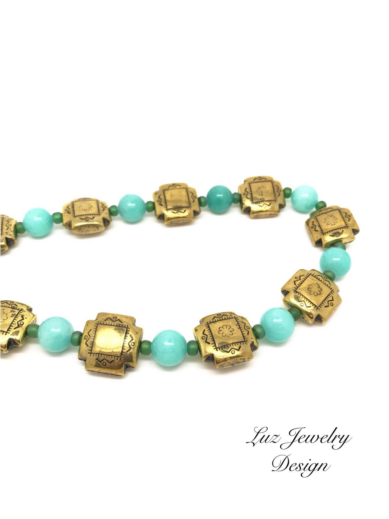 Green gold necklace, jade necklace - handcrafted Jewelry Luzjewelrydesign