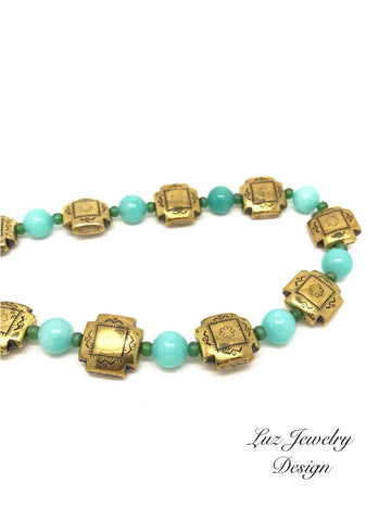 Green gold necklace, jade necklace