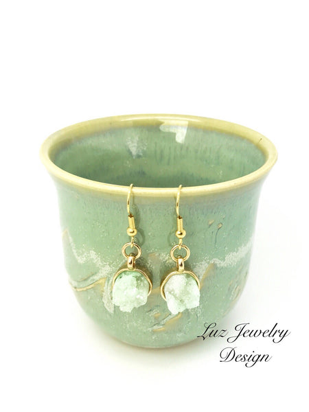 Mint Green Druzy Stone Statement Earrings, Mint Green Druzy Earrings, gold plated earrings, druzy jewelry, mint green earrings, quar