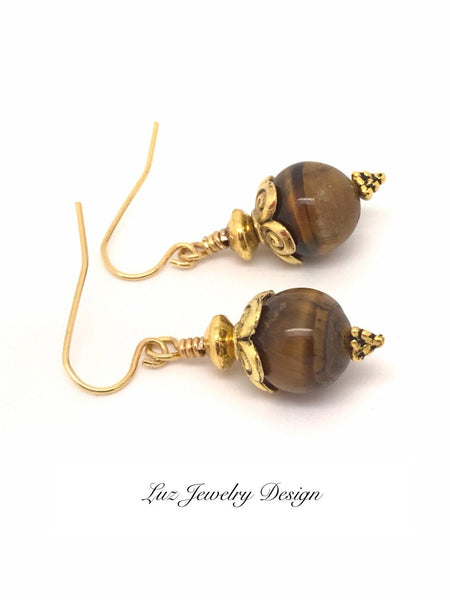 Tiger eye earrings, brown stone earrings, gold tiger eye dangle, gold-brown earrings, tiger eye gold, gold tigers eye dangle, tige