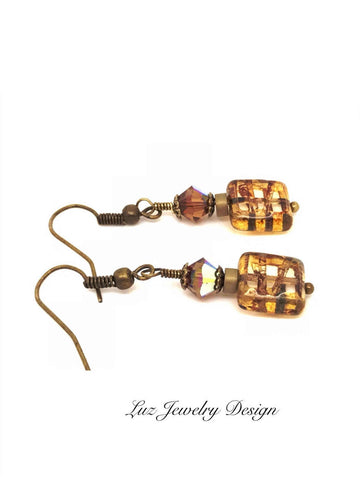 Brown brass boho, Bohemian brown earrings