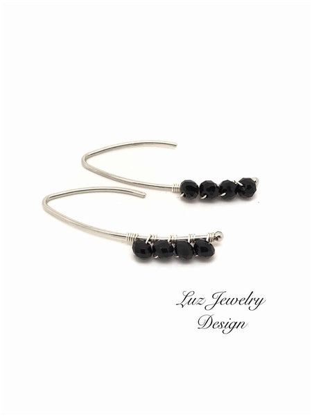Trendy Black Crystal Wire Wrapped in Silver Hook Earrings, Wedding Black Dangle Special for Her