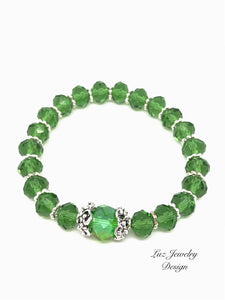 Green bracelet, green crystal bracelet, stretch bracelet, green stretch bracelet, crystal bracelet, stretch crystal bracelet,