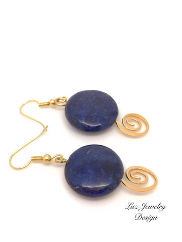 Lapis Lazuli Earrings -Lapis Lazuli Earrings -Blue Lapis Lazuli Earrings-Blue gemstone earrings-Lapis Earrings- gold Lapis Lazuli