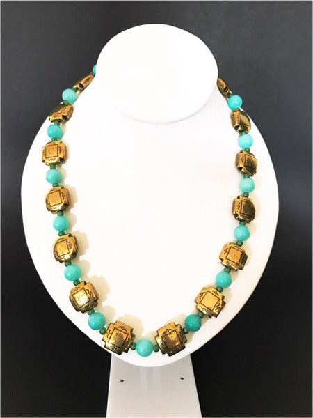 Green gold necklace, jade necklace - Luzjewelrydesign