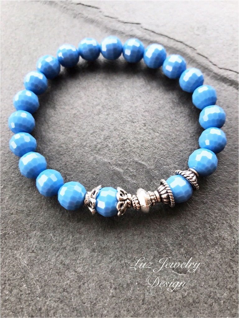 Cornflower blue stretchy bracelet, Catoline blue stretchy jewelry