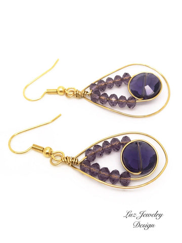 Gold purple earrings, Purple earrings