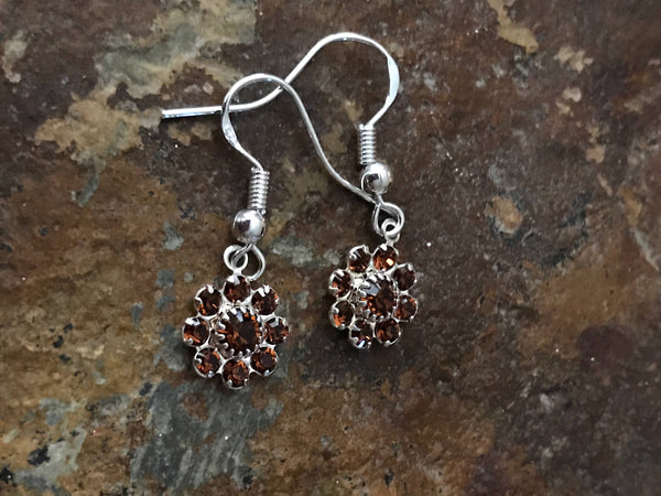 Garner Flower Earrings, Dark Red Swarovski earrings, marron flower earrings, brown flower Swarovski