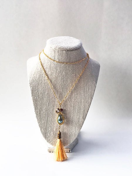 Gold Tassel Boho Necklace - handcrafted Jewelry Luzjewelrydesign