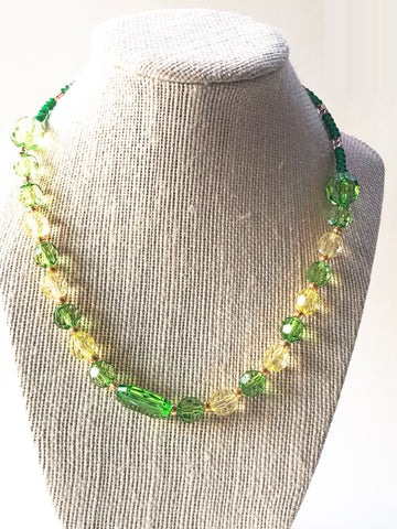 Green and Yellow Acrylic Necklace - Luzjewelrydesign