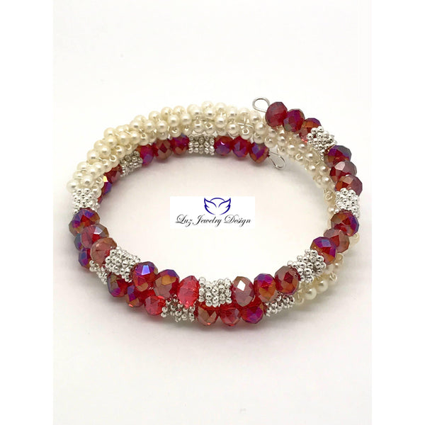Red and White Memory Bracelet, White Pearl Memory Bracelet, red crystal memory Bracelet, red white jewelry - Luzjewelrydesign