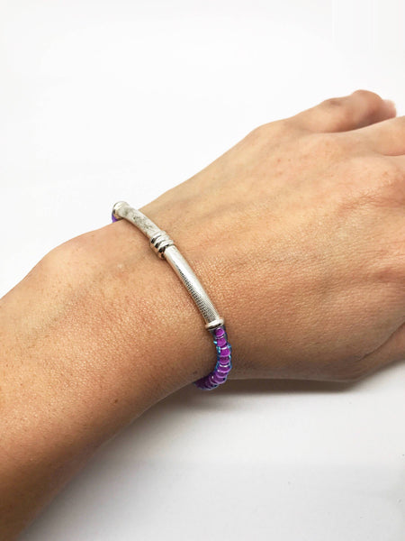 Purple Silver tube Bracelet, purple Jewelry, silver tube bracelet, silver tube purple bracelet, simple purple bracelet - Luzjewelrydesign