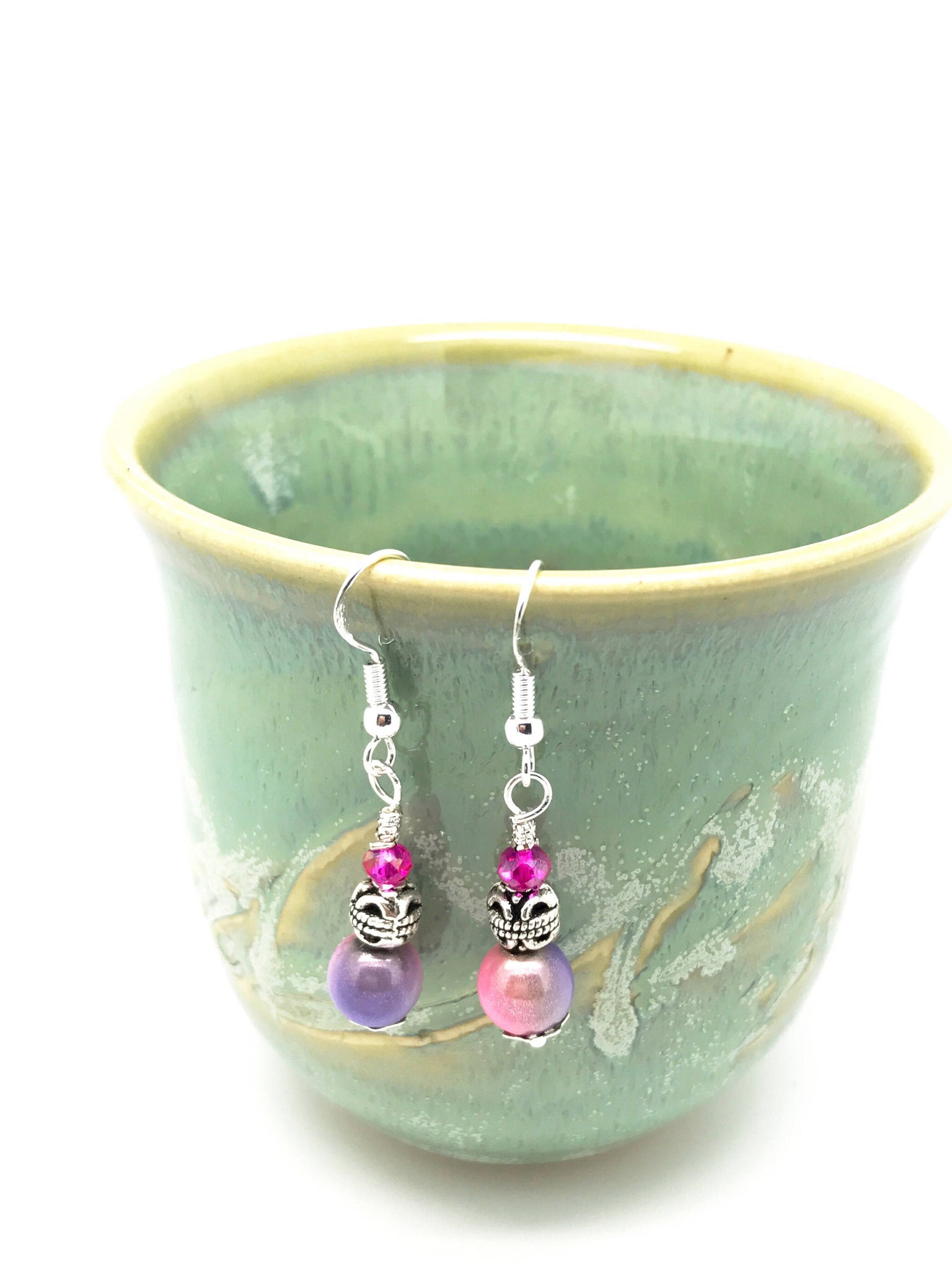 Bright Pink Irresistible Earrings -  Pink-Blue Shiny Earrings - Fashion Pink Earrings - Pretty Pink Earrings - Purple-Pink Earrings