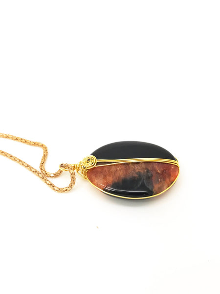 Orange and Black Agate Necklace - handcrafted Jewelry Luzjewelrydesign