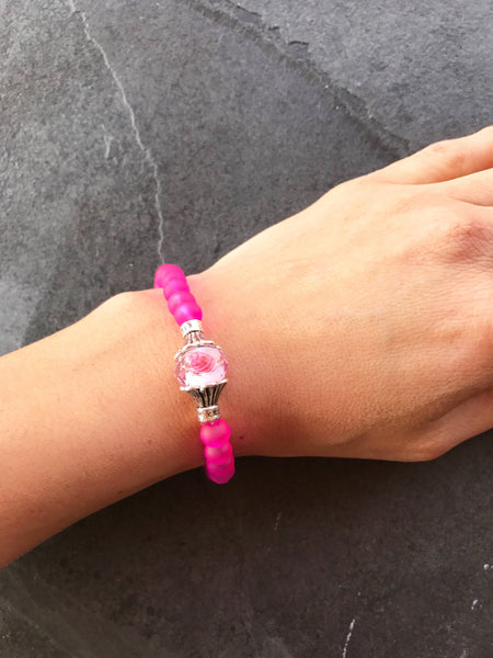Neon Pink Stretch Bracelet, Bright Jewelry, Elastic bracelet, CounNeon Pink stretch bracelet, Flamingo pink jewelry, Bright jewelry
