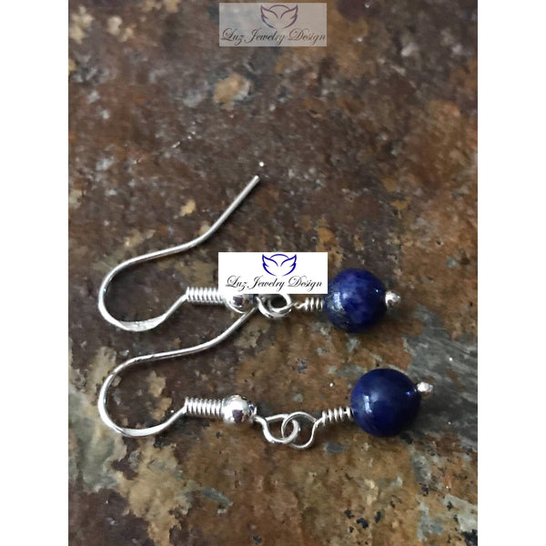 Lapis Lazuli Earrings -Lapis Lazuli Earrings Sterling - handcrafted Jewelry Luzjewelrydesign