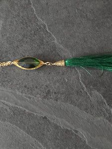 Green Tassel Gold Necklace, Long Tassel Necklace, Wire wrapping gold necklace, Green Gold Necklace - Luzjewelrydesign