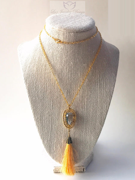 Gold Tassel Wire Wrapping Necklace - handcrafted Jewelry Luzjewelrydesign