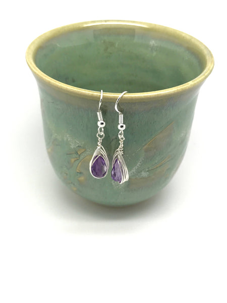 Amethyst Teardrop February Birthstone Purple Earrings