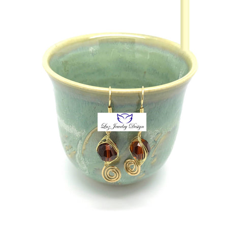 Brown Gold Drop Earrings - handcrafted Jewelry Luzjewelrydesign