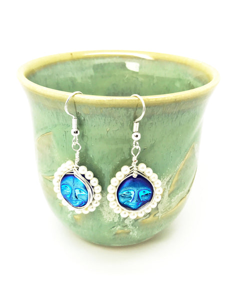 Blue  Face earrings, Moon face earrings, blue earrings, moon face dangle, Iridescent moon face earrings, Two-sided blue earrings