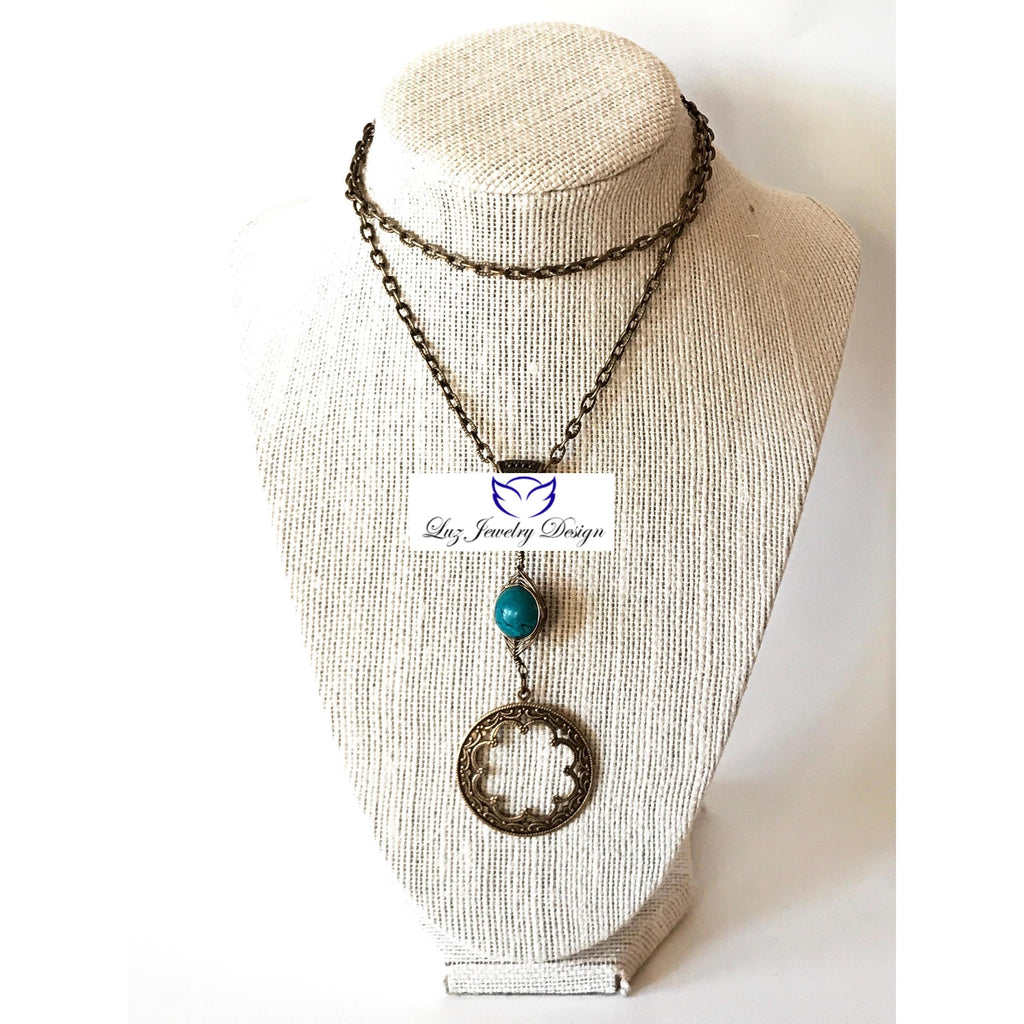 Boho Turquoise Brass Necklace - handcrafted Jewelry Luzjewelrydesign