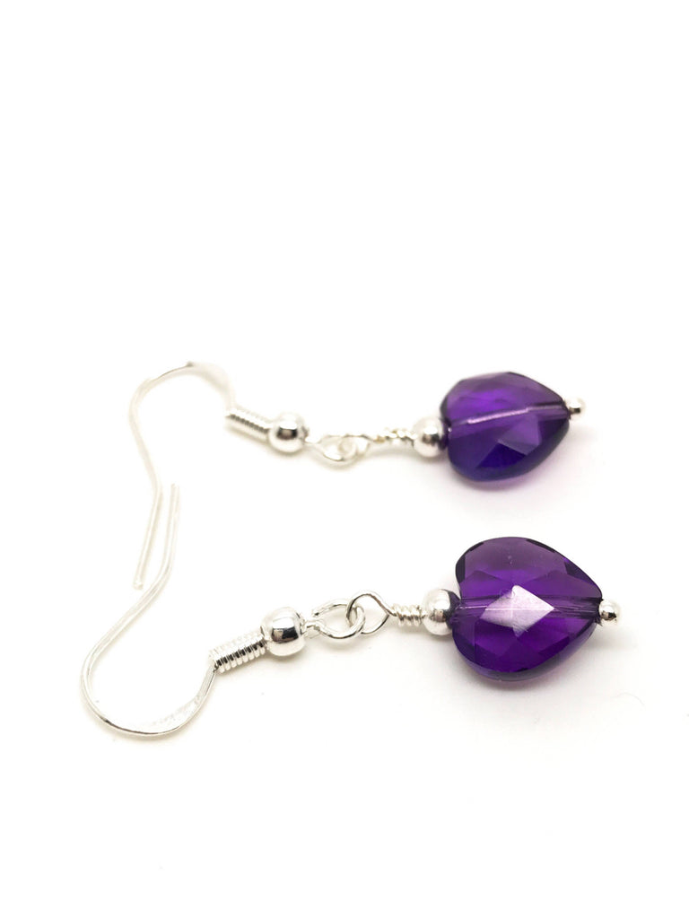 Amethyst earrings, February earrings