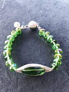 Green crystal bracelet, green stretch bracelet, crystal bracelet, stretch crystal bracelet, handcrafted
