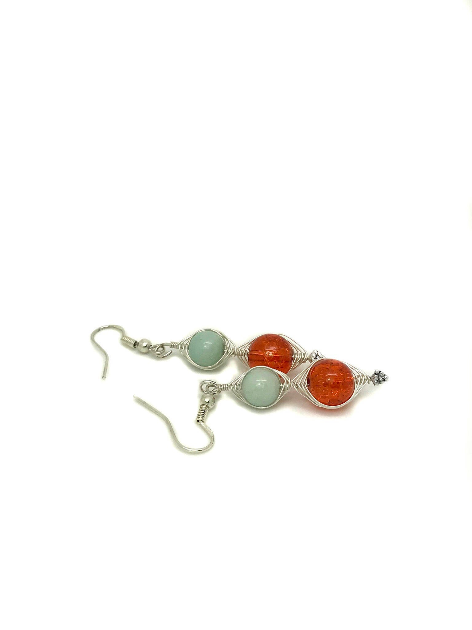 Orange and Light Blue Wire Wrapping Earrings, Light Green and Orange Sterling Silver Handcrafted Earrings, Wire Wrapping Jewelry