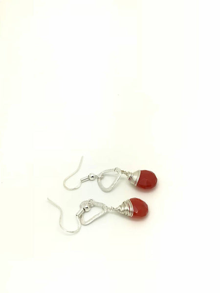 Carnelian earrings, Orange Earrings, Orange carnelian Earrings, Silver orange Earrings, carnelian silver Earrings, Wire Wrap Earrings