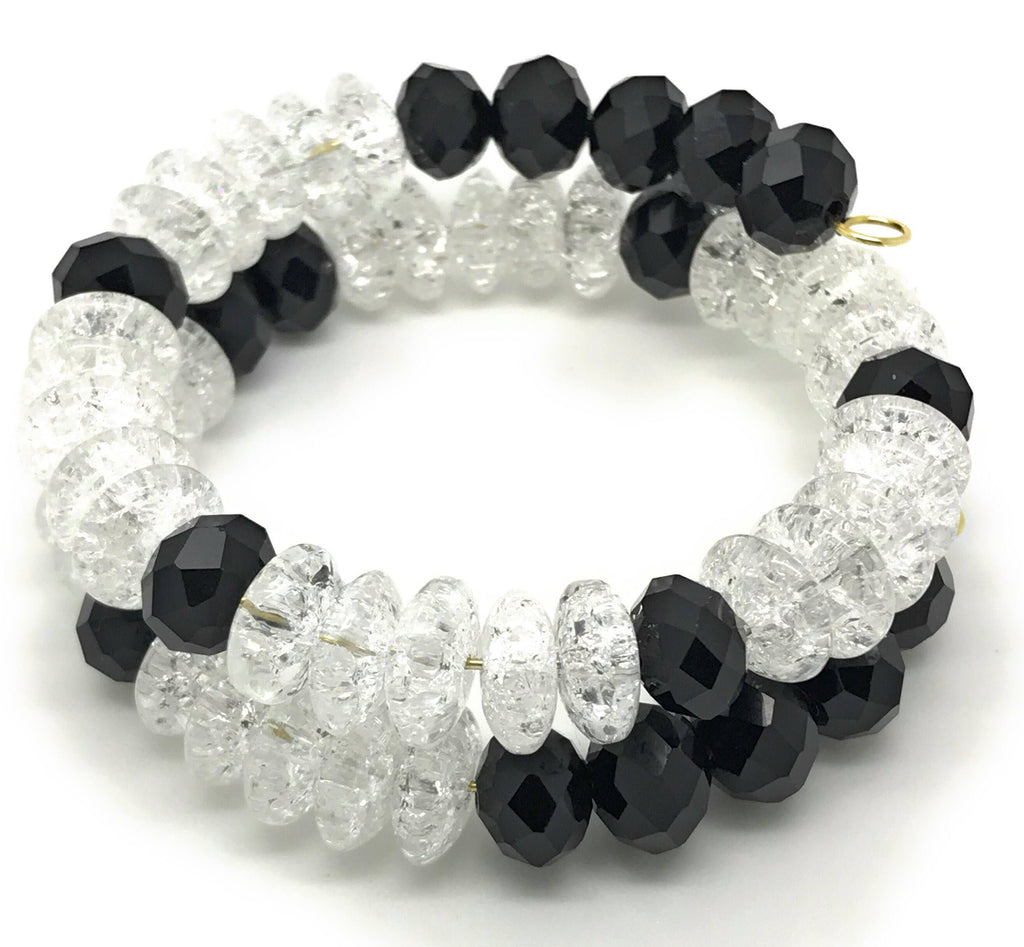 Black and crystal memory bracelet