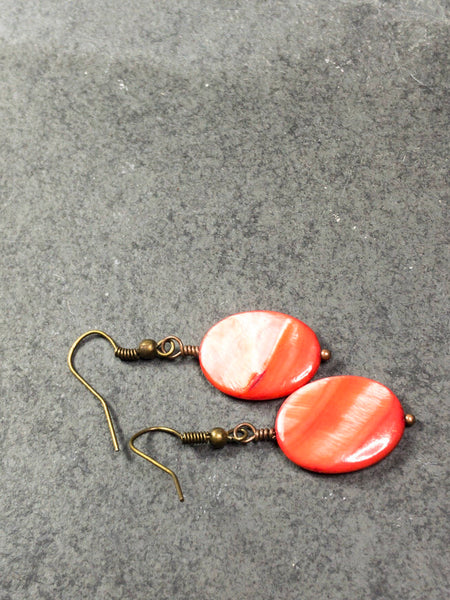 Red mother pearl earrings, stud red earrings, dangle red agate earrings, red post earrings - Luzjewelrydesign