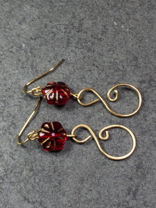 Red Flower Earrings - Dark Red Flower earrings - Wire Hammered Red Earrings - Czech  Red Earrings - Red Dangle