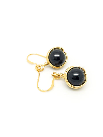 Drop Black Earrings