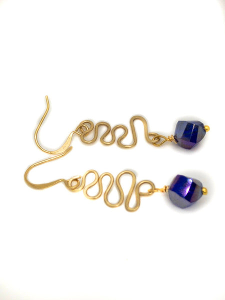 Gold  Wire Hammered  with Blue Crystal, Blue Gold Earrings, Gold Handmade Earrings, Blue earrings, Unique Earrings,