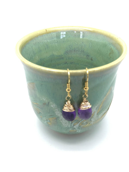 Amethyst 18k Gold Fill Earrings, February Lavender Birthstone Earrings