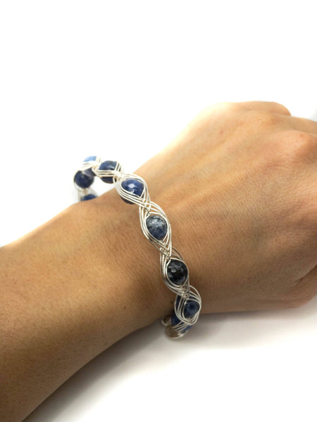 Serpentine Wire wrapping bracelet, blue wrapping bracelet, Sepertine Bracelet, Blue sterling silver bracelet