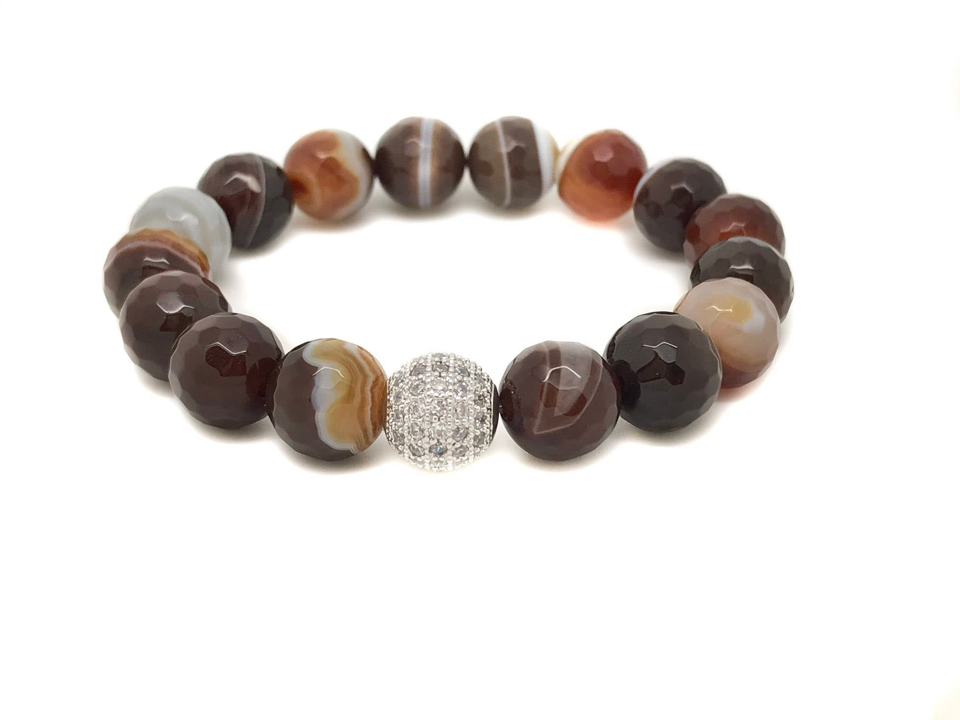 Brown Lace Agate Bracelet, Lace Agate Bracelet, Agate Woman Bracelet, Brown Bracelet, Stability Bracelet, Brown Agate Jewelry