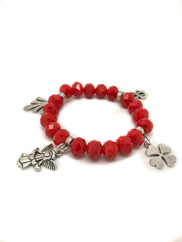Dark red bracelet, Red jewelry