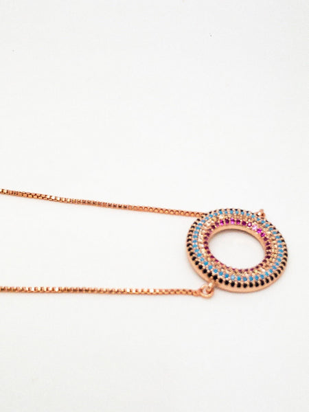 Micro Pave Cubic Zirconia Connector rose gold, Cubic Zirconia Rose Gold Necklace