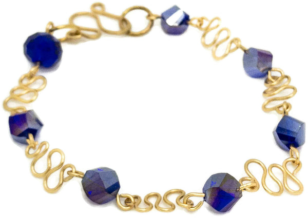 Gold and Blue Crystal Bracelet - handcrafted Jewelry Luzjewelrydesign